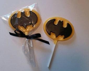 Batman chocolate lollipops