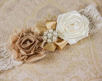 Ivory Keepsake Bridal Garter, Champagne Wedding Garter, Lace Bridal Garter, Ivory Garter - Ivory Lace, Champagne and Ivory Flower Garter
