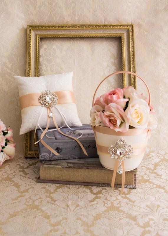 Blush Ring Bearer Pillow And Flower Girl Basket Set Rhinestone Wedding