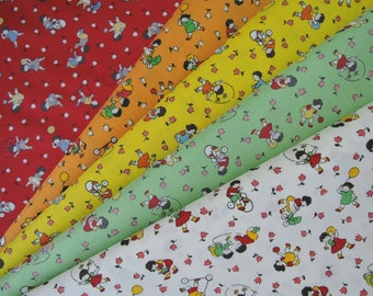 Bundle of 1/8 of 2015 Lecien Retro 30's Kids Fabric in 5 Colorways. Made in Japan