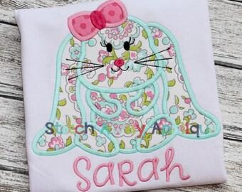 Floppy Ear Easter Bunny Girl Machine Applique Design