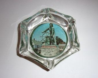 Vintage 1960's Gloucester Massachusetts Glass Ashtray / Glouceter Massachusetts Souvenir Ashtray
