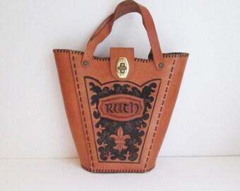 Vtg Tooled Ruth Leather handbag Monogramed RHC top handle Rockabilly purse