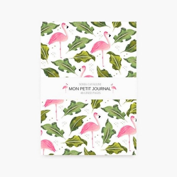 Notebook, journal, diary, flamingo, floral, A6, handmade, stationery, gift, Tagebuch, travel notebook, exotic pattern, watercolor notebook
