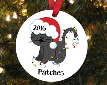 Cat Christmas Ornament - Personalized Christmas Ornament for Cat - New Kitten Gift