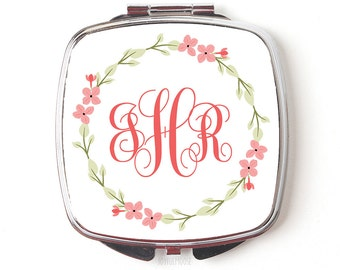 Bridesmaids Gifts Monogram Compact Mirror - Pocket Mirror - Purse Mirror - Coral Floral Wreath