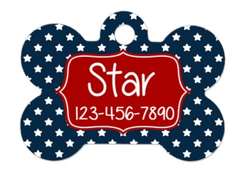 dog collar tag - red navy blue stars - 2 sided
