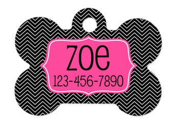 Personalized Dog Tag - Dog ID Tag - Personalized Bone Dog Tag - Pet Gift - Custom Pet ID Tag - Pink Chevron Black