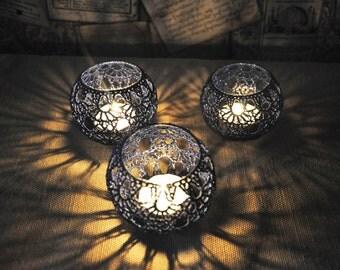 Wedding Table CenterpieceVotive Holders Crochet Candle Holders Set of 5, Wedding Lighting, WhiteTable Decor, Party Wedding Decoration