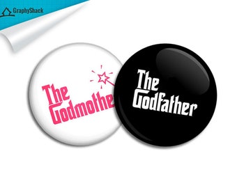 The Godmother +  The Godfather Combo 2-1/4 inch 58mm Pinback Button Pin Badge Keepsake Big Buttons New