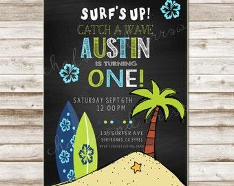 Surfer Invitation-Printable-Invitation-any age-DIGITAL FILE-PRINTABLE