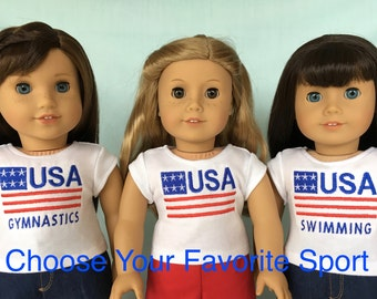 Olympic Sport T-Shirt for American Girl/18 Inch Doll