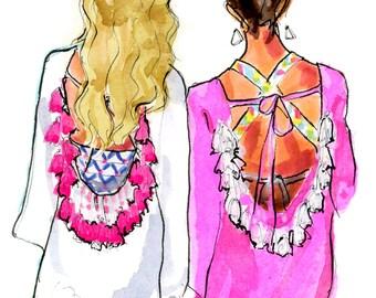 Fashion Illustration Art Print: Beachside Besties