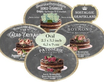 Patisserie Chalkboard Chocolate Labels French Ovals 3.5 x 2.5 inch Download digital collage sheet O145 Confiserie Cakes Cafe