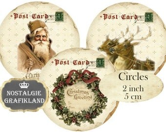 Christmas Postcards Circles 2 inch Vintage Christmas Instant Download digital collage sheet C099 Santa Claus Deer