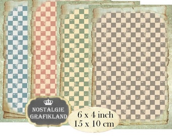 Vintage Background Checked 6 x 4 inch Instant Download digital collage sheet D111 Check