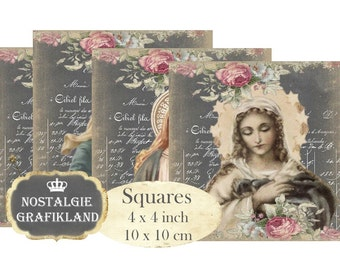 Chalkboard Madonna Holy Mary Holycards Squares 4 x 4 inch Transfer Instant Download digital collage sheet TG131