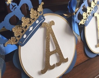 Royal Prince Birthday Banner-Royal Blue and Gold