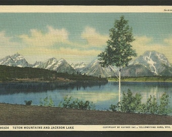Vintage  Linen Postcard -  Teton Mountains and Jackson Lake, Grand Teton National Park, Jackson Hole, Wyoming  (1412)