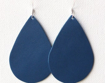 Royal Blue Leather Tear Drop Earrings