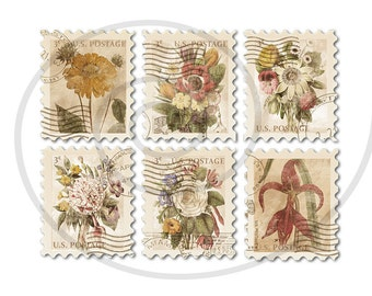 Floral stamps. Fake stamps. Old postage stamps. Vintage digital stamps. Postage stamp art. Digital collage sheet #1. Instant download PNG