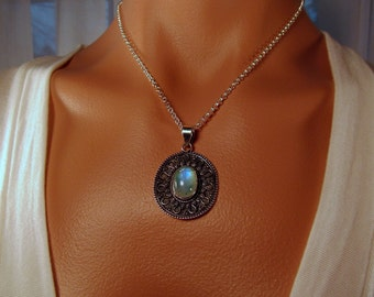 Green Moonstone Pendant and Earrings set in Bali Style Sterling Silver