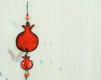 Ornamental Orange Ceramic Pomegranate, Wall Decor, Ceramic Tile, Wall Hanging