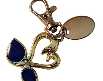 Custom Engraved / personalised blue swan keyring with gift pouch -pl243