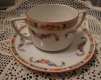 Double Handled Dainty Czecoslovakia MZ Altrohlau CM-R Tea Cup And Saucer Set