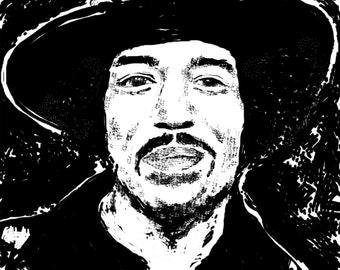 Jimi Hendrix Print from Digital Art