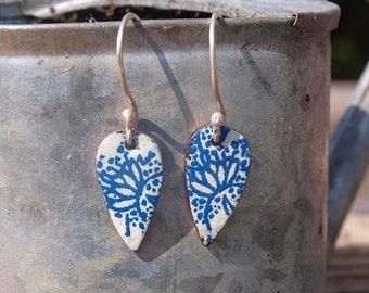 Indigo pattern earrings - copper enamel earrings - indian floral earrings - blue and white earrings - copper enamel drop earrings