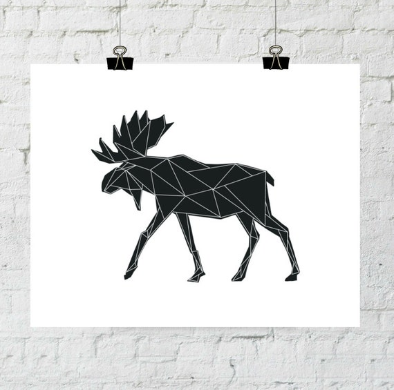 Moose Printable, Moose Art, Woodland Animal Print Wood, Geographic Moose Wall Antlers Antler Print Animal Print Moose Digital Download
