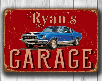 PERSONALIZED GARAGE SIGN, Customizable Garage Signs, Vintage style Garage Sign, Garage Decor, Mustang Garage, Gift for Car Lovers, Mustang