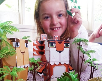 DIY paper toy craft activity kit. PHYSICAL PRODUCT - Make your own terrific tiger paper toys.