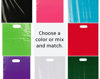 "50 Pick Your Color Glossy Plastic Shopping Bags, Gift Bags, Plastic Merchandise Bags, 12 x 15"", Die Cut Handle, Wedding Diy, Favor Bag"