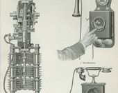 "Antique Telephone Print C. 1900 - Antique Phone Wall Art - Matted 11x14"" Vintage Decor - Gift Idea"