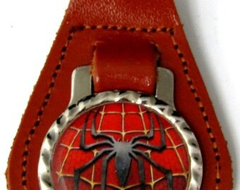 Spiderman With Web Brown Leather Key Fob Steel Ring FOB-0049