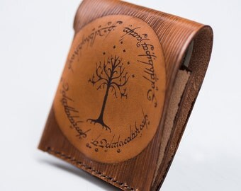 Gondor tree leather wallet - Lord of the rings inspired wallet - Minimal design wallet - One Ring inscription