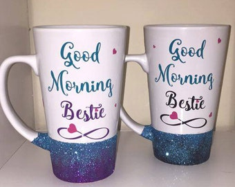 Good morning bestie ombre glitter ceramic mug in white - available in 2 sizes