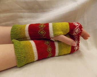 Women Knit Arm Warmers  with ornaments, Goth Fingerless Gloves, Knitted FAIRISLE Mittens.