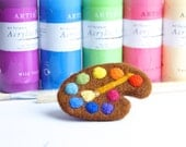 Artist Palette Brooch, Gift for Art Teacher, Gifts for Artists, Needle Felted, Felt Brooch, Artist Friend or Child, Art Prize, Rainbow