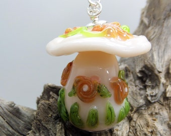 Toadstool Soft Pink Fairy House Glass Pendant