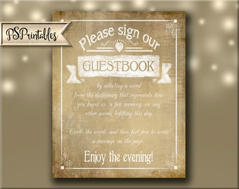 Printable Wedding Sign for Dictionary Guestbook,  Guestbook alternative, Wedding Dictionary DIY Vintage Sign, Guest Book Sign Vintage Heart