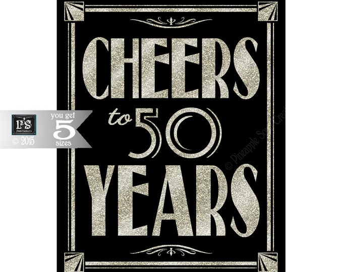 Printable 50th birthday sign - Art Deco - Great Gatsby - 1920's theme - digital file - DIY - black and glitter silver