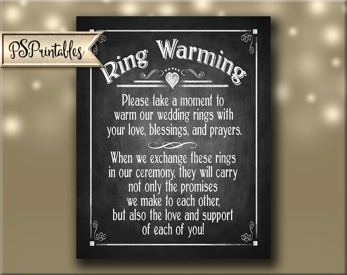 Ring Warming Printable Chalkboard Wedding sign - instant download digital file - Rustic Heart Collection