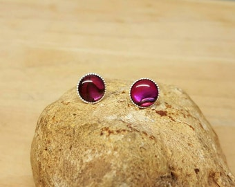 Red Abalone stud earrings. 925 sterling silver 8mm Post earrings. Paua shell earrings. Reiki jewelry uk