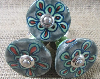 Ceramic drawer knobs. Grey, Green, orange drawer knobs
