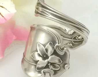 Sterling Silver Spoon Ring, VIOLET, Size 8 - 12 Custom, Whiting 1905 Antique Pattern, Silverware Jewelry Gift, February Flower