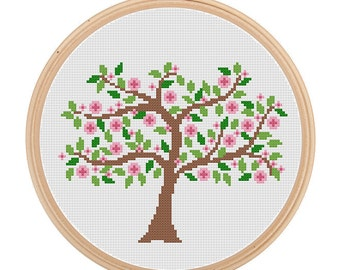 Instant Download Spring Tree Cross Stitch Pattern Spring season cross stitch Flower Tree cross stitch Pink green