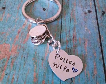 Police Wife Keychain - Police Keychain - Gift for Police Officer Wife - Wife Keychain - Police Accessories - Gift for Her- Women - Wife